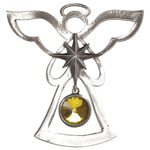Salisbury Pewter Birthstone Angel Ornament - November Topaz