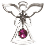 Salisbury Pewter Birthstone Angel Ornament - October Pink Tourmaline