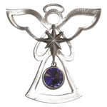Salisbury Pewter Birthstone Angel Ornament - September Sapphire