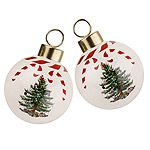Spode Christmas Tree Peppermint Baubles Set of Two