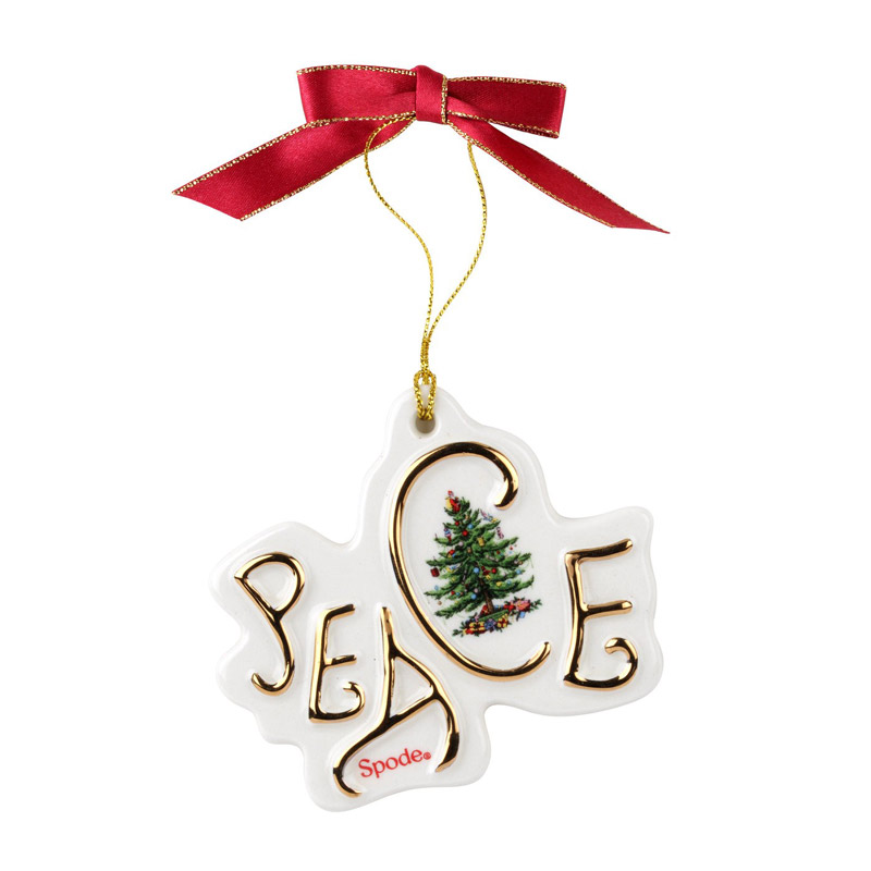 Christmas Tree Peace Disk Ornament | Spode Christmas Tree Decoration | Christmas Peace Disk Ornament