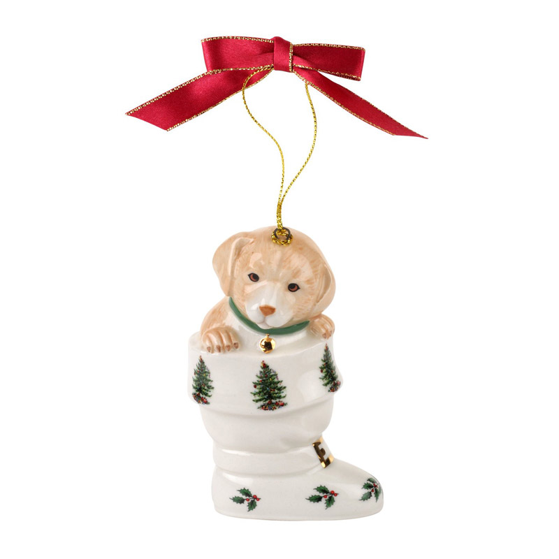Christmas Tree Puppy in Boot Ornament | Spode Christmas Tree Decoration | Christmas Drum