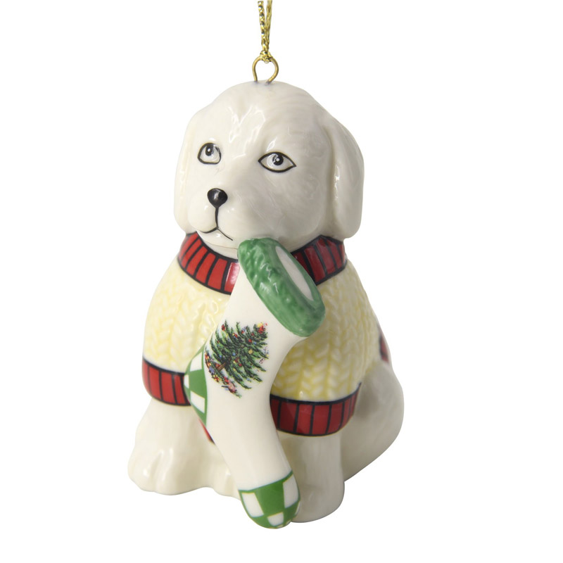 Christmas Tree Puppy Ornament | Spode Christmas Tree Decoration | Christmas Puppy Ornament