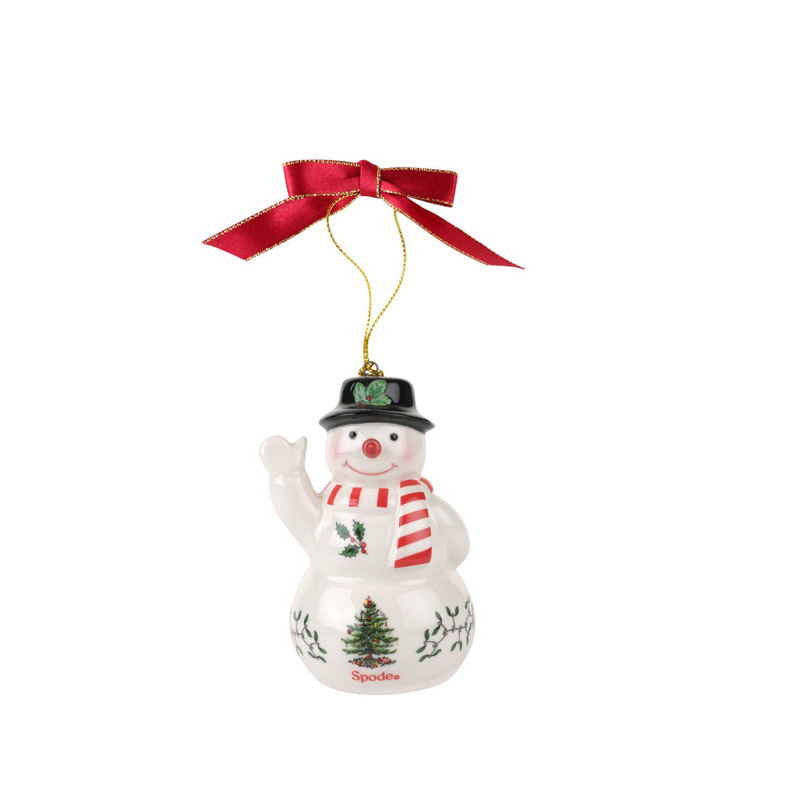 Christmas Tree, Snowman with Black Hat Ornament | Spode Christmas Tree Decoration | Christmas Snowman with Black Hat