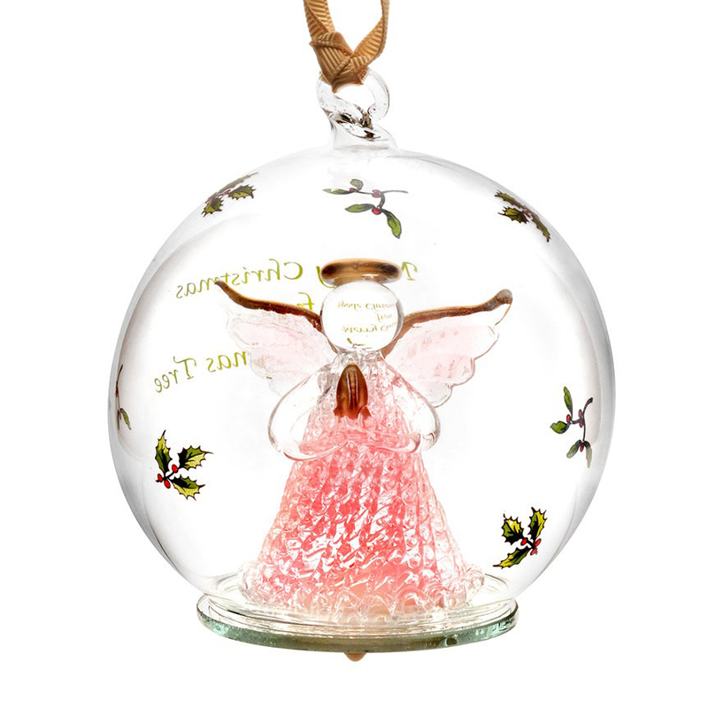 Spode angel glass led christmas ornament silversuperstore