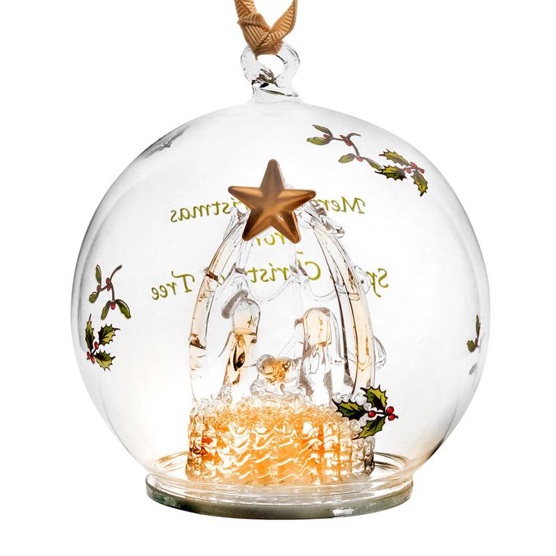 Manger Glass LED Ornament Christmas Ornament | Spode Christmas Tree  Decoration | Nativity Scene