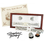 Stephan Baby Silver Plated Birth Certificate Memory Set