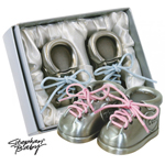 Stephan Baby Silver Plated Bootie First Tooth & Curl Set