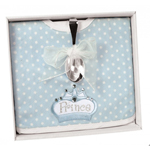 Stephan Baby Silver Plated Royalty Prince Bib & Bent Spoon Set