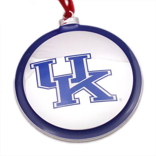 University of Kentucky Christmas Ornament Silver Plate Logo - University Of Kentucky Christmas Ornaments