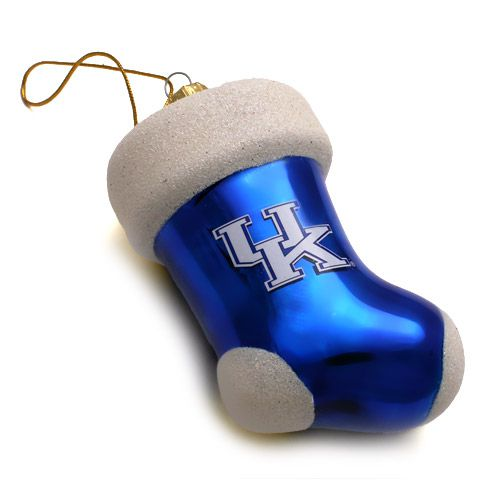 University of Kentucky Christmas Ornament Glass and Glitter Stocking - University Of Kentucky Christmas Ornaments