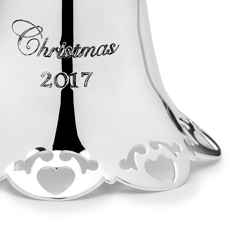 Silver christmas bell towle