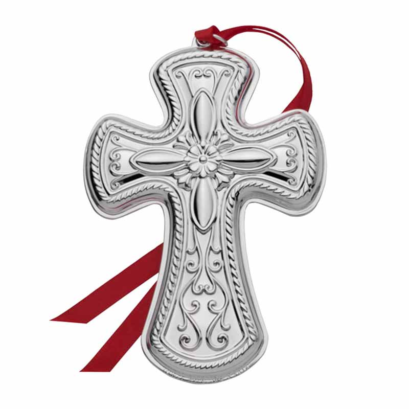 Towle silver cross christmas ornament