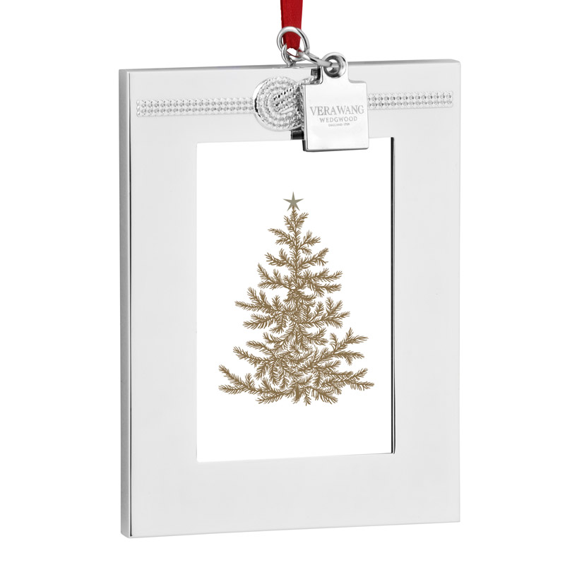 Christmas Tree Ornaments Picture Frames : Personalizable grosgrain frame ornament pottery barn