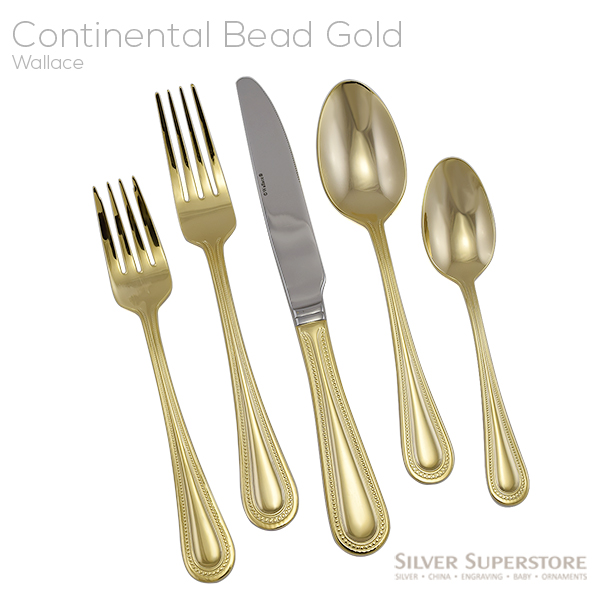 Wallace Continental Bead Gold Stainless Steel Flatware