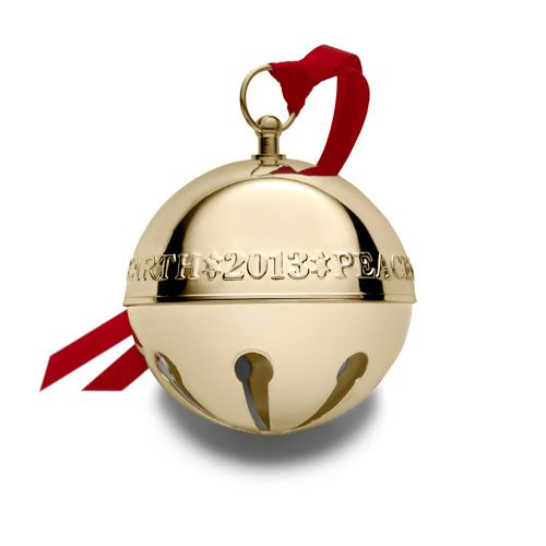 Wallace gold plate sleigh bell ornament silver