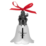 2017 Wallace Santa Bell Peweter and Nickelplate Christmas Ornament