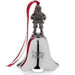 2016 Wallace Santa Bell Peweter and Nickelplate Christmas Ornament