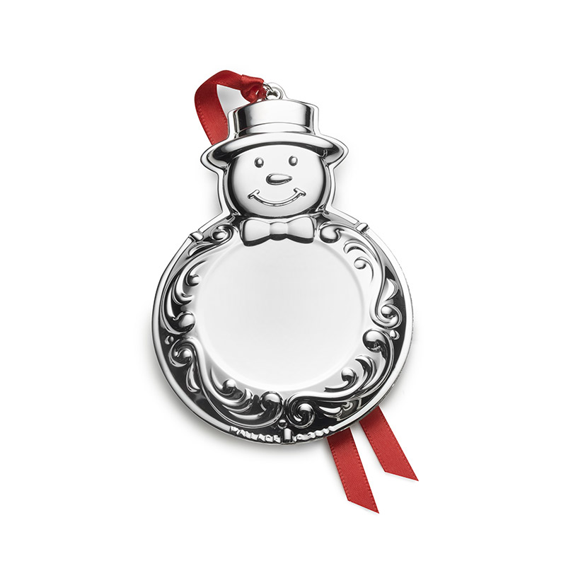 Engravable Ornament - Snowman Christmas Tree Decoration | Wallace Ornaments | Christmas Silver