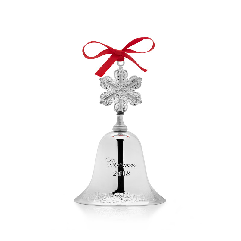 Grande Baroque Bell Christmas Tree Decoration | Wallace Ornaments | Christmas Silver Bell