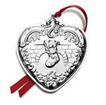 2014 Wallace Grande Baroque Heart Sterling Silver Christmas Ornament