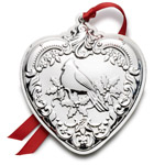 2016 Wallace Grande Baroque Heart Sterling Silver Christmas Ornament