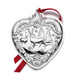 2017 Wallace Grande Baroque Heart Sterling Silver Christmas Ornament