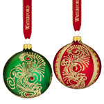Waterford Peacock Nouveau Ball, Set of 2 Ornaments, Christmas Baubles