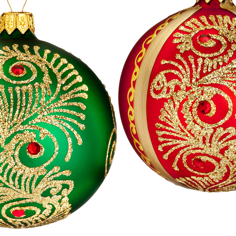 Waterford Peacock Nouveau Ball Set Of 2 Ornaments