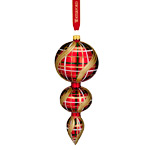 Waterford Holiday Heirloom Nostalgic Plaid Triple Spire Ornament