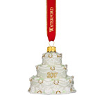 Waterford Holiday Heirloom Our First Christmas Wedding Cake Ornament