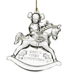 2016 Waterford Baby's First Crystal Christmas Ornament, Teddy Bear and Rocking Horse