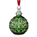 2016 Waterford Cased Ball Emerald Crystal Christmas Ornament