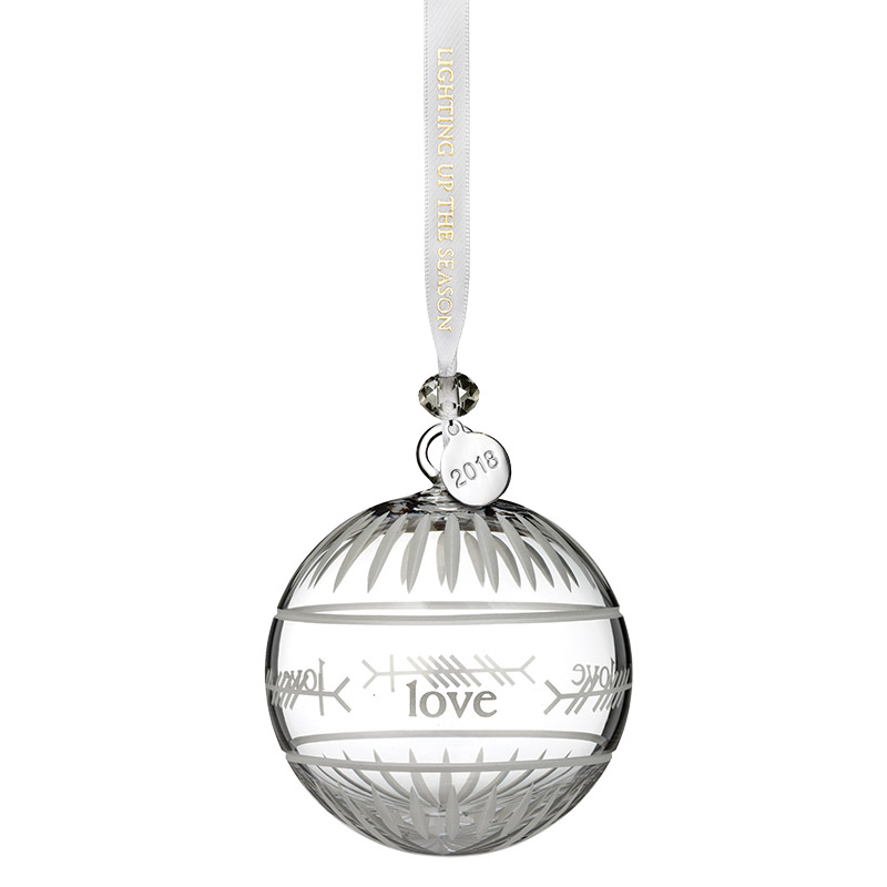 2018 Ogham Love Ball | Waterford Crystal Christmas Tree Decoration | Cross Ornament