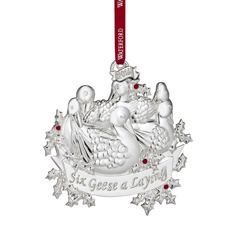 2016 12 days of christmas 6 geese a laying waterford christmas tree decoration - Silver Plated Christmas Tree Decorations