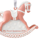 2016 Baby's First Christmas, Pink Rocking Horse Christmas Ornament | Wedgwood Christmas Tree Decoration | Pink Rocking Horse Design
