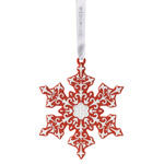2016 Snowflake, Red Porcelain Ornament
