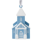 2017 Figural Cross, Blue Porcelain Ornament