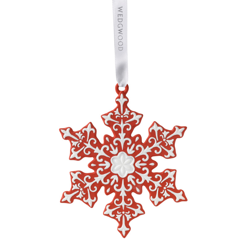 2017 Red Snowflake Christmas Ornament | Wedgwood Christmas Tree Decoration | Wedgwood Red Snowflake Design