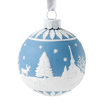 Wedgwood Building a Snowman Ball Porcelain Christmas Ornament