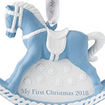 2018 Baby's First Christmas, Blue Rocking Horse Christmas Ornament | Wedgwood Christmas Tree Decoration | Blue Rocking Horse Design