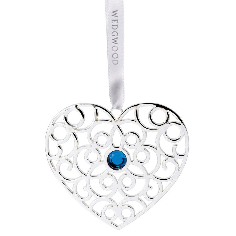 wedgwood silver filigree heart blue christmas ornament wedgwood