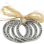 Woodbury Pewter Eat Drink and Be Merry Pewter Napkin Rings