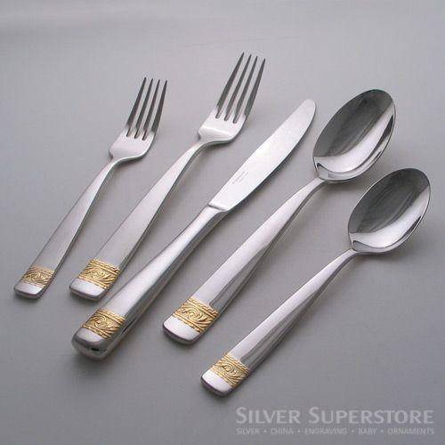 Yamazaki crestwood gold stainless steel flatware silverware - Yamazaki stainless steel flatware ...